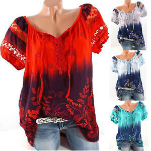 Boho-Women-Summer-Floral-Shirt-Top-Short-Sleeve-Blouse-Gypsy-Beach-T-Shirt-8-22