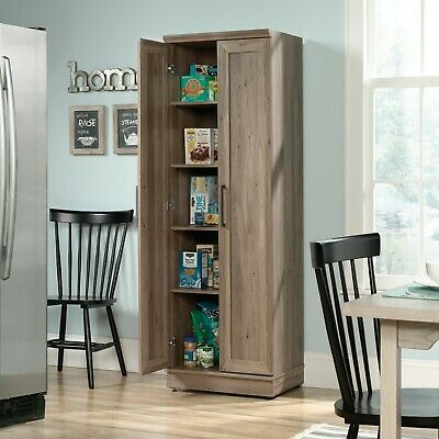 Storage Cabinet Kitchen Food Pantry Wooden Home Office Laundry Room  Cabinets | eBay