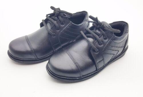 BOYS School Shoes LACE UP Comfortable Formal Smart Dress Infant Black UK SIZE