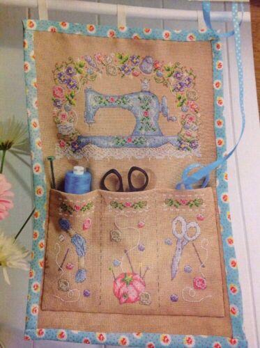 L Vintage Sewing Machine Craft Storage Flowers Pockets Cross Stitch Chart
