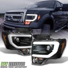 Black 2009-2014 Ford F150 Raptor SVT LED Tube DRL Projector Headlights Headlamps