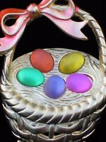 Jj Gold Multi Pink Purple Green Easter Egg Hunt Basket Pin Brooch Jewelry 2