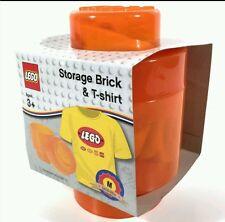 Lego SPECIAL EDITION Transculent Orange Stackable Storage Brick +TShirt Med/Kids