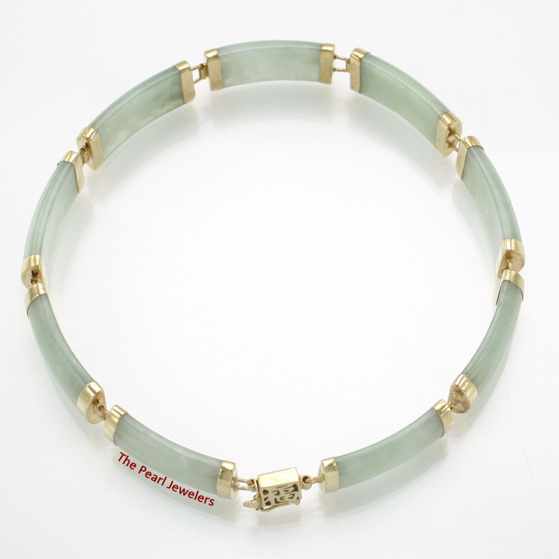 9 segments Apple Green Jade Bracelet In 14k Yellow gold with Oriental Clasp TPJ