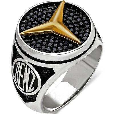 Handmade 925 Sterling Silver Men Ring MERCEDES CAR Logo Size U.S 9