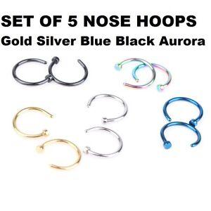 TITATNIUM-NOSE-HOOP-RINGS-GOLD-SILVER-BLACK-BLUE-AURORA-SET-OF-5