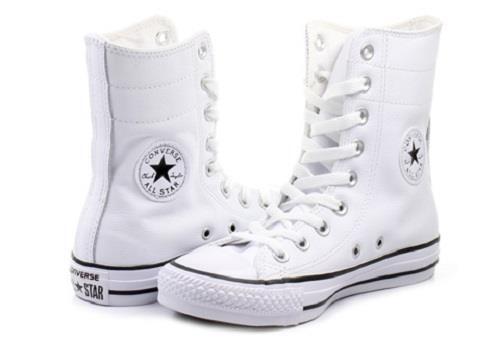 Converse WEISS Leder Hi-Rise 9-Eye Ankle Calf Wrap Lace Stiefel Schuhes Wms DISC