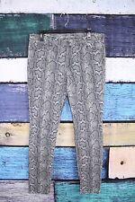 Michael Kors Gray Cotton Spandex Stretch Snakeskin Print Skinny Jeans Pants 12