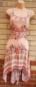 H-amp-M-Rosa-Floral-Cachemira-Panuelo-Dobladillo-bohemio-sin-mangas-del-vestido-de-te-una-linea