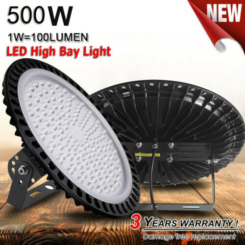 500W UFO LED High Bay Light Ultra Slim Warehouse Shop Commercial Fixtures Lamp