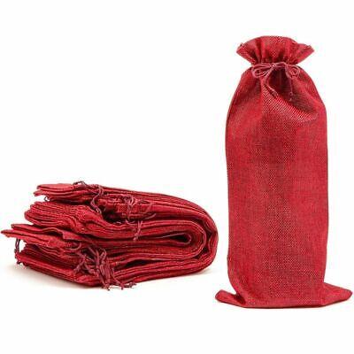 13.8 x 3.1 in. Beige 24 Pack Burlap Wine Bottle Gift Bags with Jute Drawstring