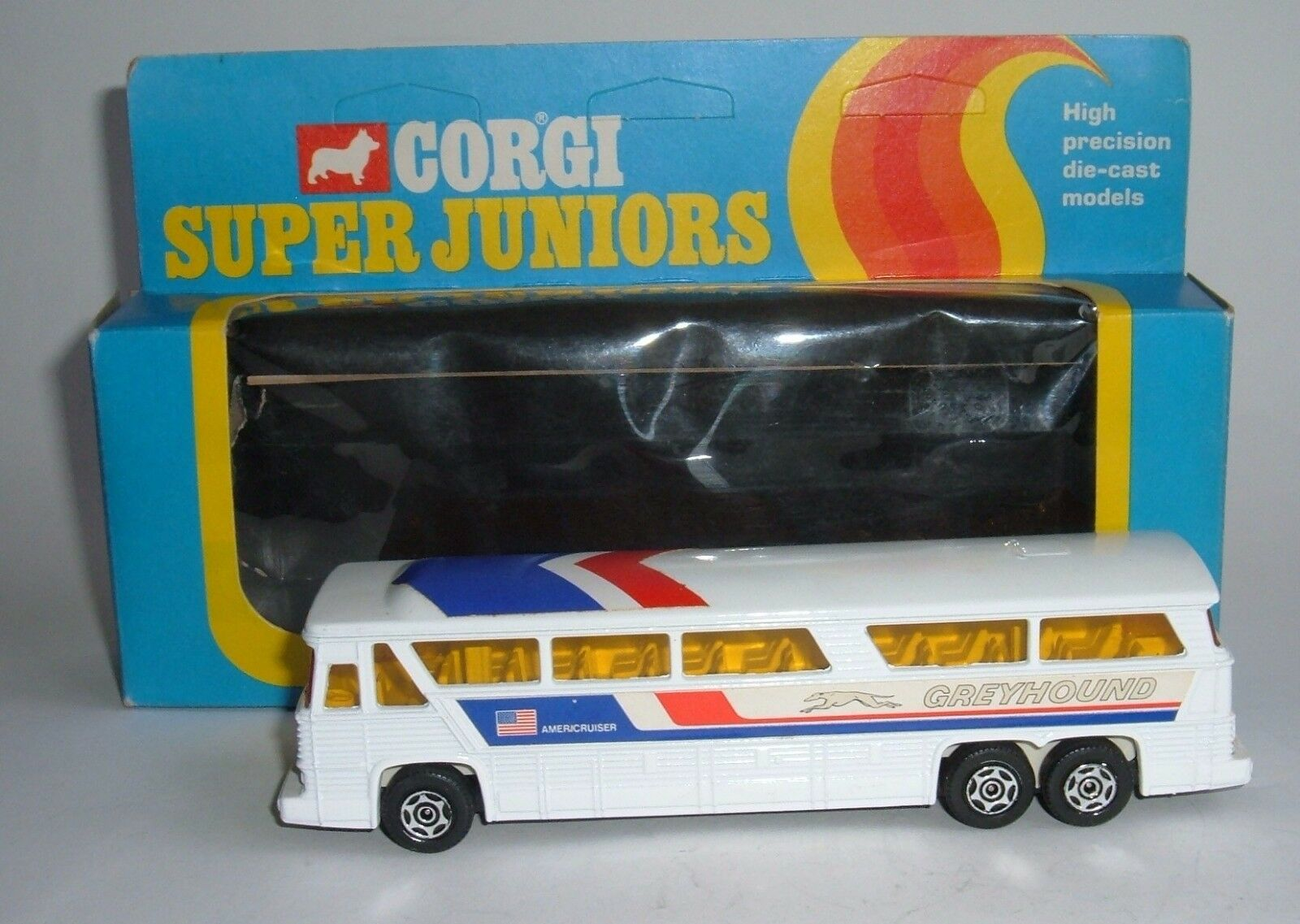 Corgi Super Juniors Toys No. 2008, Greyhound MC-8 Americuiser Bus, Near Mint.