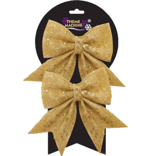 Christmas Tree Decoration 2 Pack 16cm Glitter /& Sequin Bows Gold