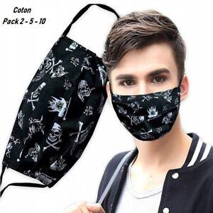 Lots 2-5-10, Masque protection en tissu, lavable , réutilisable , 1,75 euro/pc !