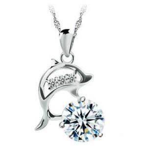 UK Seller NEW Beautiful Silver Tone /& Crystal Dolphin Necklace
