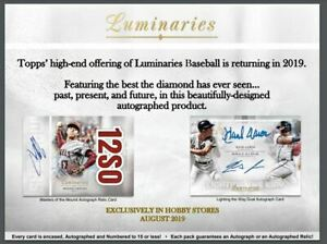 2019-TOPPS-LUMINARIES-BASEBALL-HOBBY-BOX-1-MLB-PLAYER-SIGNED-PIC-PRE-SALE