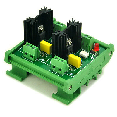 DIN Rail Mount 2 Channel 6 Amp SSR Module Board, in 4~32VDC, out 100~240VAC.