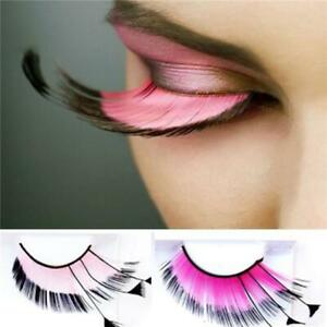 Image is loading Long-Pink-Costume-Feather-Exaggerated-Party-Fake-False- & Long Pink Costume Feather Exaggerated Party Fake False Eyelashes Eye ...