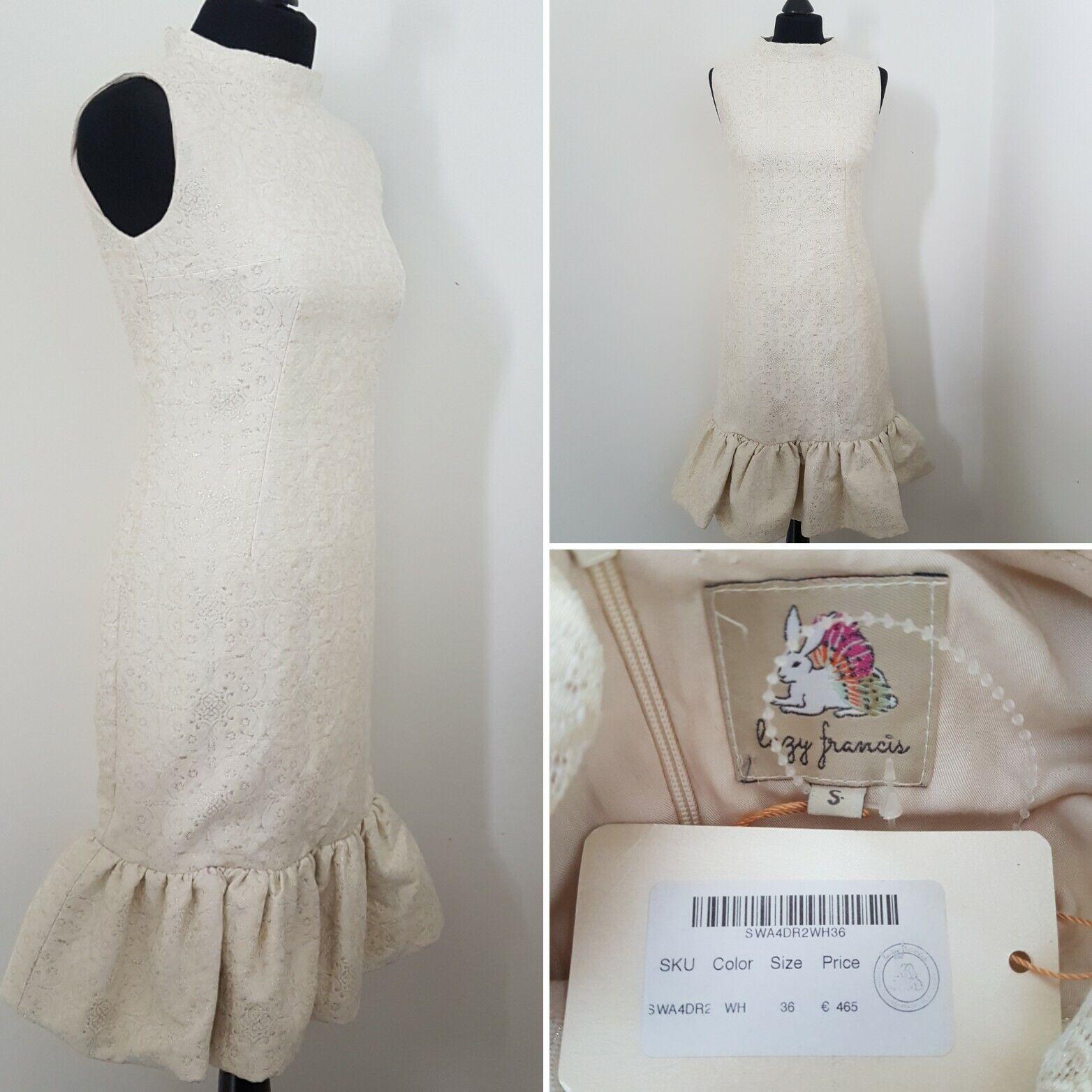 Mesdames paresseux FRANCIS Designer Gold Ivory Dress Sz S 8/10 mariage formel