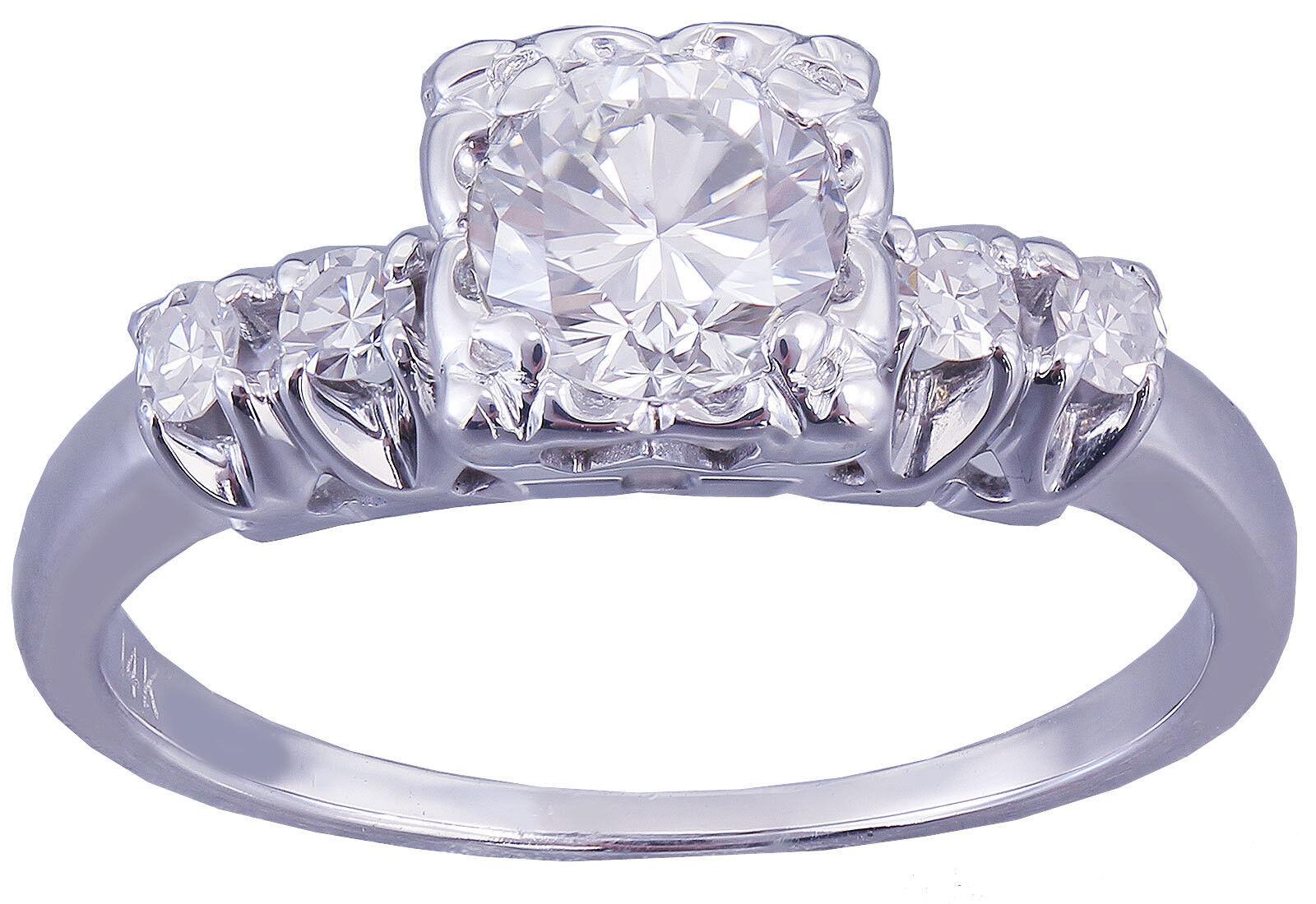 14k White gold Round Cut Diamond Engagement Ring Art Deco Antique Style 0.72ct