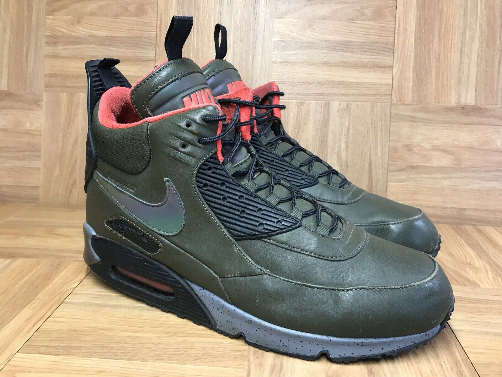 RARE Nike Air Max 90 SneakerBoot Army Green Dark Loden Red Sz 11.5 684714-300