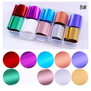 10-Rolls-Box-Holographic-Nail-Foil-Candy-Rose-Gold-Transfer-Stickers-Decals-Tips