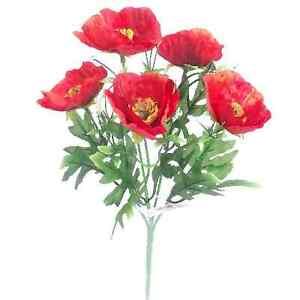 28cm poppy bush red 5 flowers summer remembrance day poppies image is loading 28cm poppy bush red 5 flowers summer remembrance mightylinksfo