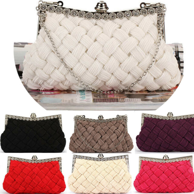 Womens Bridal Knitted Clutch Bag/Rhinestone Chain Shoulder Evening Handbag/Purse