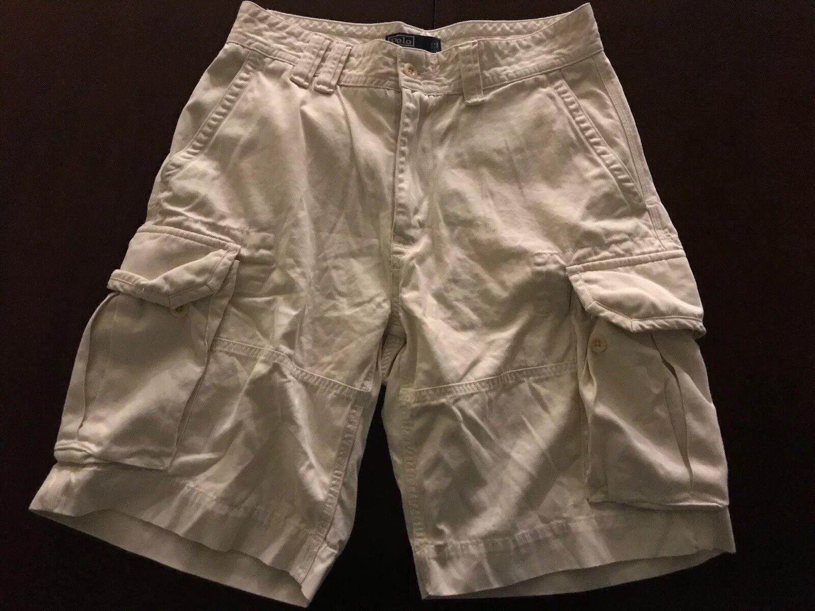 "ab1876833dd3 Polo Lauren 10"" Heavyweight Cargo Shorts Mens Sz 32 Beige TS9 Ralph ..."