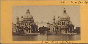 Venezia-Basilique-Santa-Maria-Della-Salute-Italia-Stereo-Vintage-Albumina