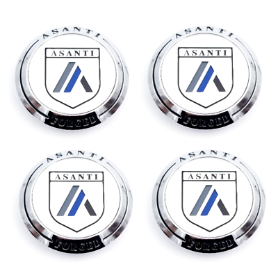 Asanti Wheels Caps In Chrome Cap #C-100 New Style Set Of 4 Pcs Made By Asanti