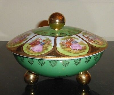 Antique European Porcelain Trinket Box in Green and Gold with Courting Couple For Your Love