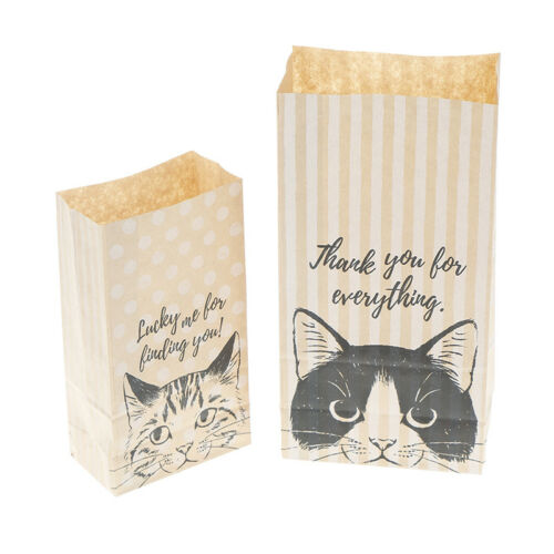10X kraft paper gift bags candy cookies paper bags gift packaging cat pattern FG