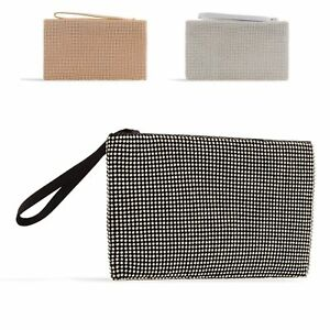 WOMENS LADIES FAUX SUEDE DIAMANTE FLAP ENVELOPE CLUTCH BAG EVENING BAG HANDBAG