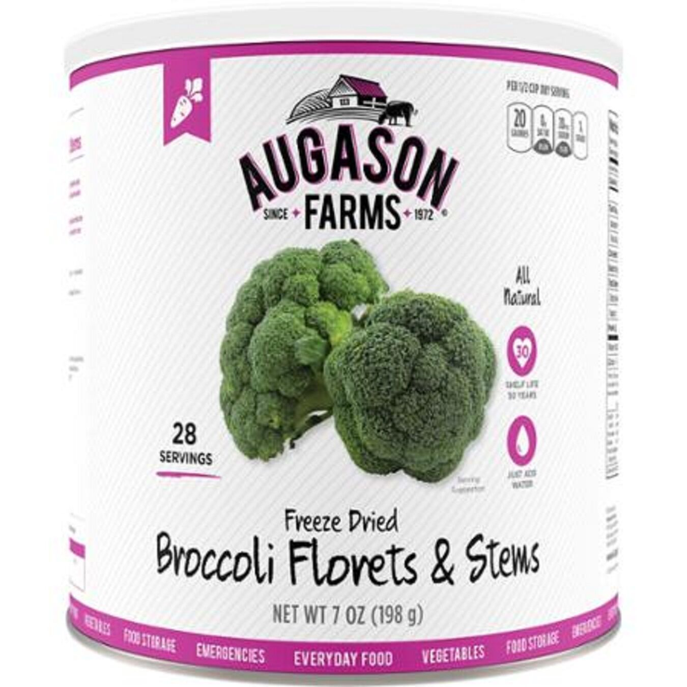 Augason Farms Freeze Dried Broccoli Florets & Stems Emergency Survival Camp Out
