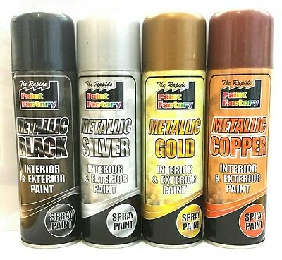 Gold Silver Copper Black Metallic Spray Paint Aerosol Interior Exterior 250ml