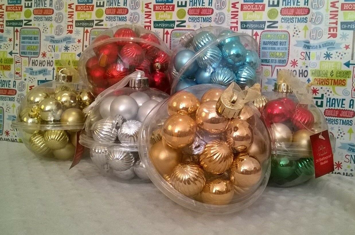Set Of 24 Bulk Buy Christmas Tree Baubles Decorations Hot Blue Silver For Sale Ebay