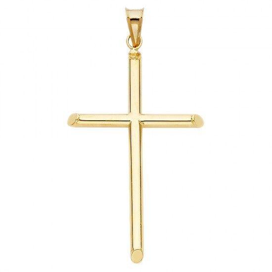 14K Yellow gold Cross Religious Charm Pendant 1.5gr GJPT14
