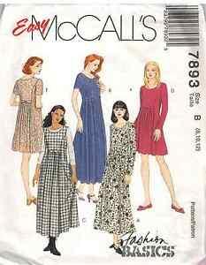 7893-UNCUT-McCalls-Vintage-SEWING-Pattern-Loose-Fitting-Pullover-Dress-OOP-SEW