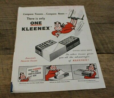 Vtg 1948 Magazine Ad Kleenx Tissues There's Only One Rusco Screens Cartoon Girl Advertising