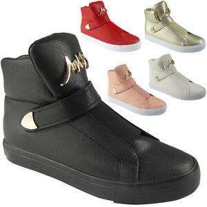Mujer Hi Top Zapatillas Acolchado Lengua Zapatillas De Lona Botines