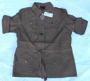 $79 LANE BRYANT Khaki Tan Cargo Utility Safari Pocket Button Shirt Belt Jacket