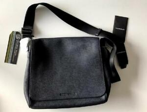 0986e1f904fe Image is loading Emporio-Armani-Mens-Blue-Textured-Leather-Messenger-Bag-