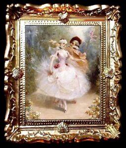 Aimable Photo Portrait En Or Balayé Cadre/art Pour Maison De Poupées/pièce Boîte No.1224-afficher Le Titre D'origine