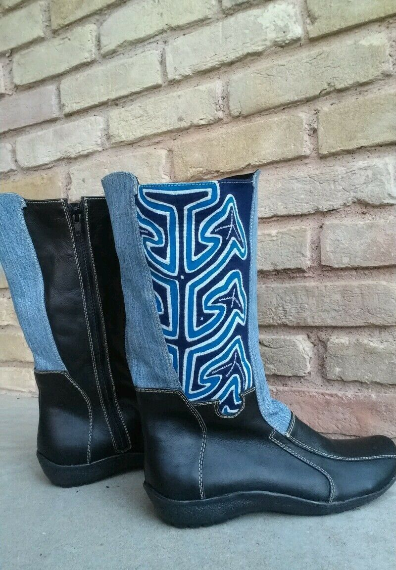Handcrafted bottes with Mola art and leather  -noir Taille 8 by Nativo chaussures
