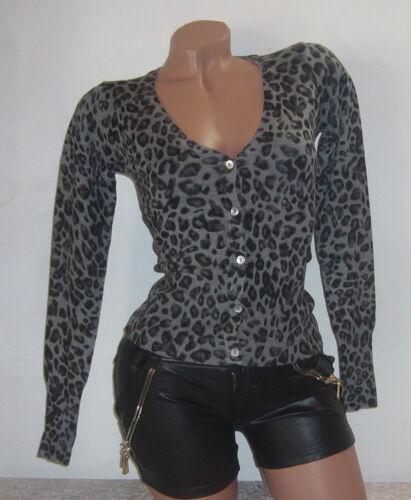 Wolljacke Wolle Jacke LEO-Look leopard Cardigan LANA-Wolle S M L XL NEU