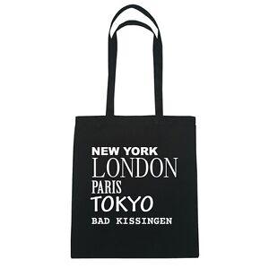 New York, London, Paris, Tokyo BAD KISSINGEN - Jutebeutel Tasche - Farbe: schw