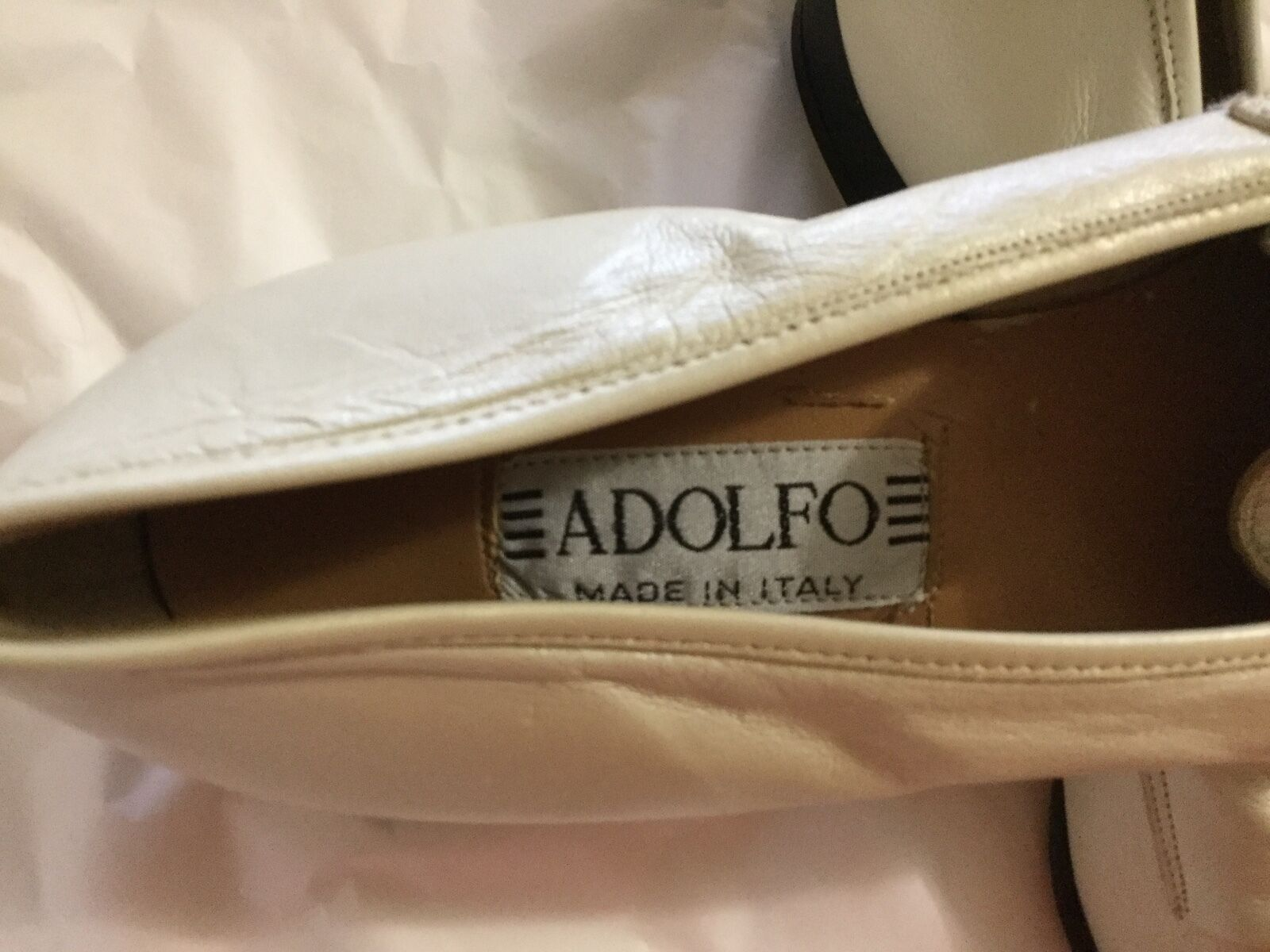 NEW VIntage Adolfo Pearl Buttersoft Leather Leather Leather Loafer - 8.5M 39de40