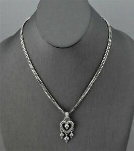 Judith-Ripka-Sterling-Silver-Diamonique-Heart-Enhancer-w-Double-Box-link-Chain