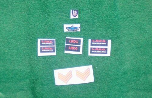 1//6  WW2 fabric British//Rhodesia LRDG//SAS LRDG patches wings /& badge